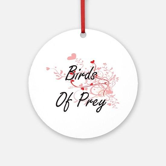 Birds Of Prey Heart Design Round Ornament