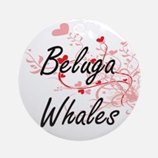 Beluga Whales Heart Design Round Ornament