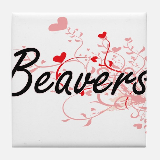 Beavers Heart Design Tile Coaster