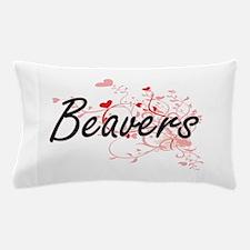 Beavers Heart Design Pillow Case