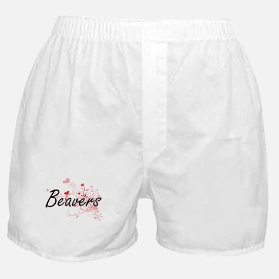 Beavers Heart Design Boxer Shorts