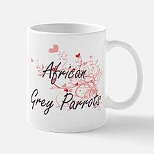 African Grey Parrots Heart Design Mugs