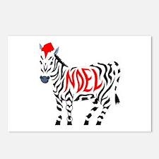 Christmas Noel Zebra Postcards (package Of 8)