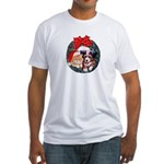 Christmas pet wreath Fitted T-Shirt