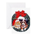 Christmas pet wreath Greeting Cards (Pk of 10)