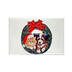 Christmas pet wreath Rectangle Magnet (100 pack)