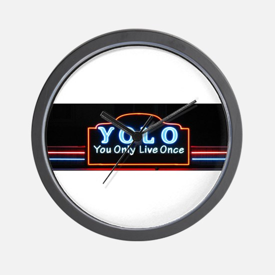 YOLO You Only Live Once sign Wall Clock