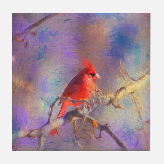 Lovely Cardinal Tile Coaster
