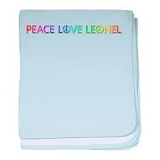 Peace Love Leonel baby blanket