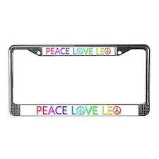 Peace Love Leo License Plate Frame