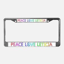 Peace Love Leticia License Plate Frame
