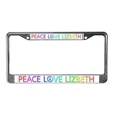 Peace Love Lizbeth License Plate Frame