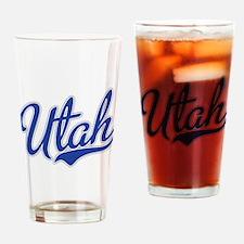Utah State Script Font Drinking Glass