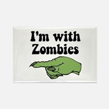 I'm With Zombies Halloween Rectangle Magnet