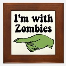 I'm With Zombies Halloween Framed Tile