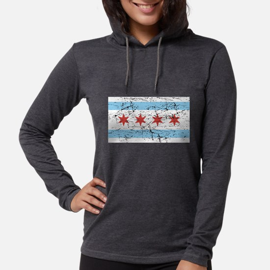 Chicago Flag Distressed Long Sleeve T-Shirt