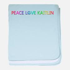Peace Love Kaitlin baby blanket
