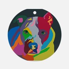 Psychedelic Pit Bull Molly Round Ornament