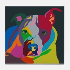 Psychedelic Pit Bull Molly Tile Coaster