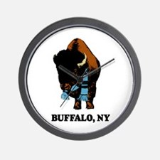 BUFFALO, NY - buffalo with sk Wall Clock