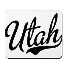 Utah Script Black Mousepad