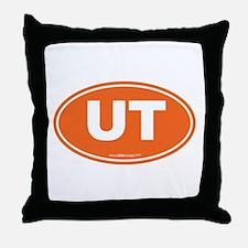 Utah UT Euro Oval ORANGE Throw Pillow