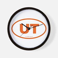 Utah UT Euro Oval ORANGE Wall Clock