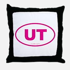 Utah UT Euro Oval PINK Throw Pillow