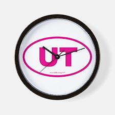Utah UT Euro Oval PINK Wall Clock