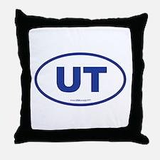 Utah UT Euro Oval BLUE Throw Pillow