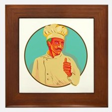Chef With Mustache Thumbs Up Circle WPA Framed Til