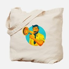 Bearded Hipster Man With Megaphone WPA Tote Bag