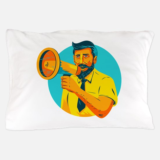 Bearded Hipster Man With Megaphone WPA Pillow Case