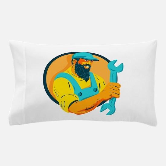 Bearded Mechanic Holding Spanner Circle WPA Pillow