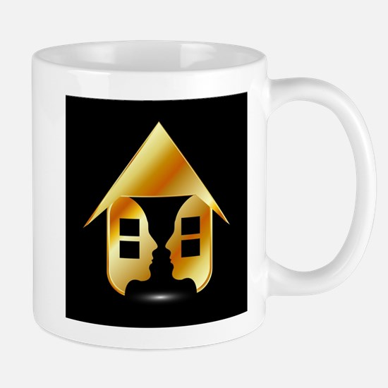 Golden house with windows and people Mugs