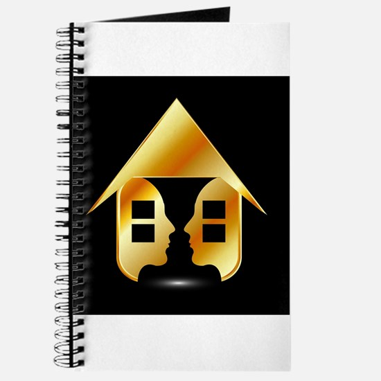 Golden house with windows and people Journal