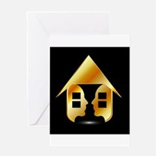 Golden house with windows and peopl Greeting Cards