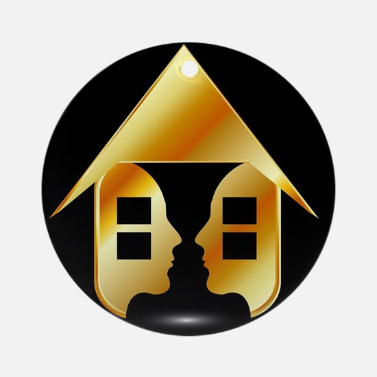 Golden house with windows and peopl Round Ornament
