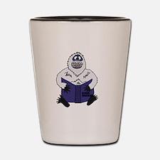 Abominable Snowman Reading Global Warmi Shot Glass