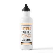 12th Wedding Anniversa Water Bottle