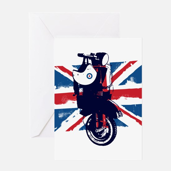 Union Jack Scooter Greeting Cards