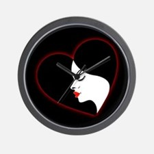 A beautiful girl in a red glowing heart Wall Clock