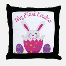 Girl's First Easter Throw Pillow