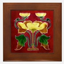 Framed Tile With Art Nouveau Autumn Floral Form