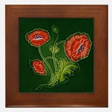 Framed Tile With Art Nouveau Red Poppy Plant