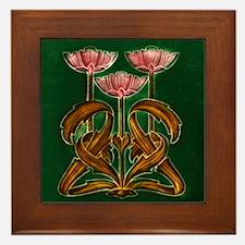 Framed Tile With Art Nouveau Pink Floral Bouquet