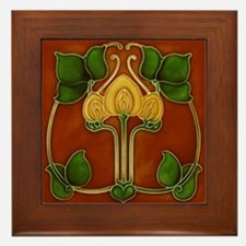 Framed Tile With Art Nouveau Yellow Floral Form