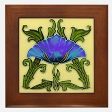 Framed Tile With Art Nouveau Morning Glory
