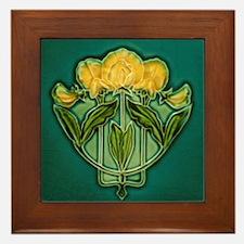 Framed Tile With Art Nouveau Yellow Bouquet