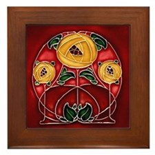 Framed Tile With Art Nouveau Mackintosh Bouquet